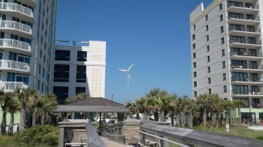 Small Wind Turbine amid the Hotels